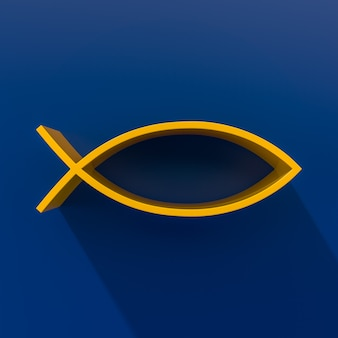 Желтый знак рыбы христа. 3d-рендеринг