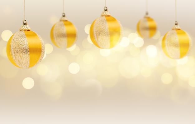 Yellow christmas balls toys on a golden background