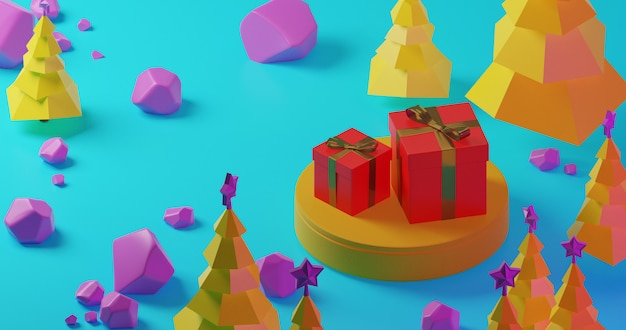Yellow christmas trees in the forest with red gift box on yellow stage and purple stones, low poly style. colorful 3d rendering holiday christmas new year concept