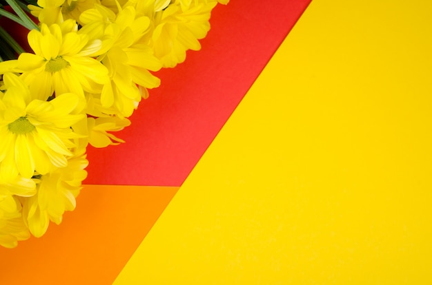 Yellow chrysanthemum flowers on a bright orange, red and yellow paper background