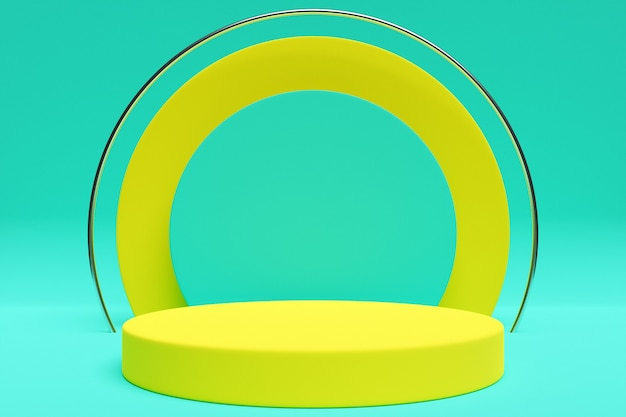 Yellow circle podium stand on the background of a geometric composition