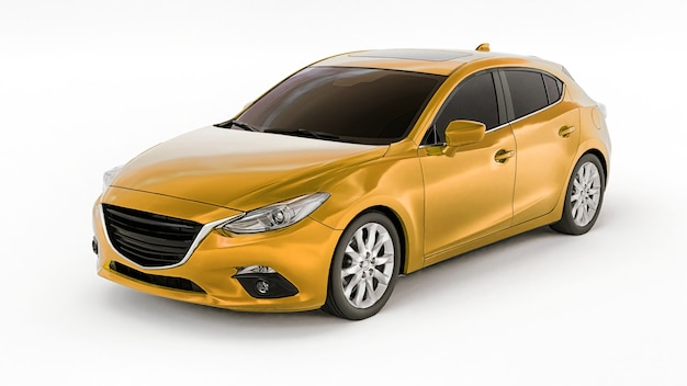 창의적인 디자인을 위한 빈 표면이 있는 노란색 도시 자동차. 3d 렌더링.