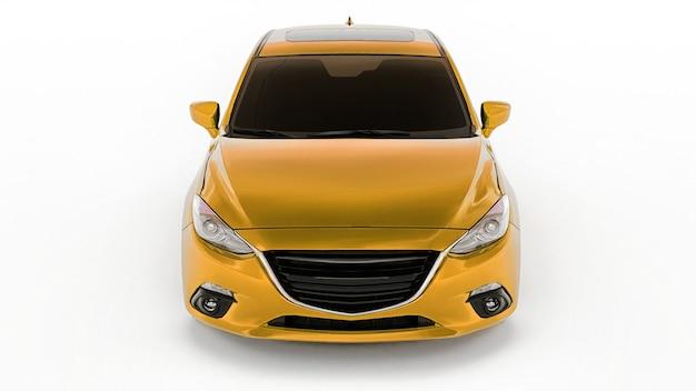 창의적인 디자인 3d 렌더링을 위한 빈 표면이 있는 노란색 도시 자동차