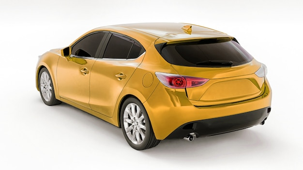 あなたの創造的なデザインのための空白の表面を持つ黄色の都市車。 3dレンダリング。