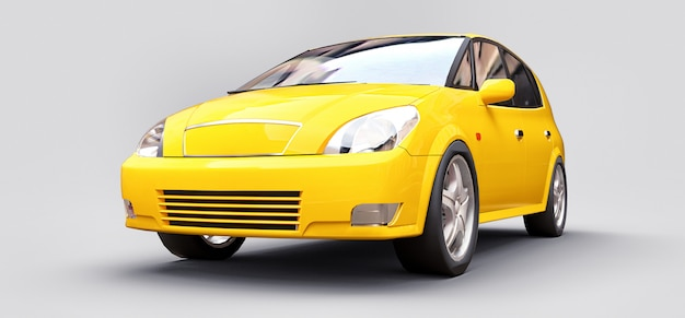 Yellow city car with shiny surface