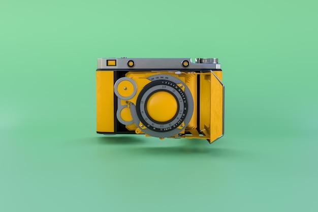 Желтая классическая камера плавая на зеленую предпосылку. минимальная концепция.