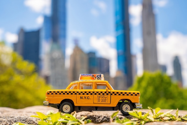 Yellow classic taxi model parked in the central park in new york on a sunny day