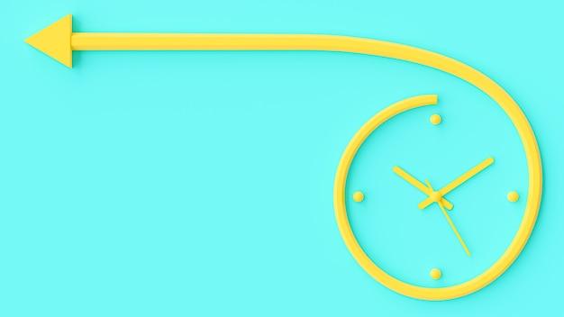 Yellow clock resembles arrow on wall blue