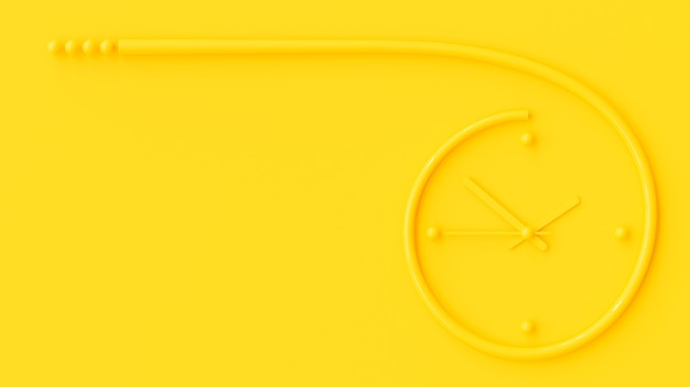 Yellow clock on wall yellow background  and copy space for your text. minimal idea concept