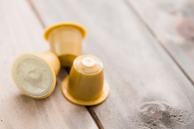 Yellow coffee capsules