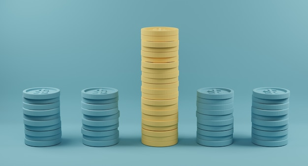 Yellow coin stacks standing out from crowd of identical blue fellows on light blue background. 3d rendering.