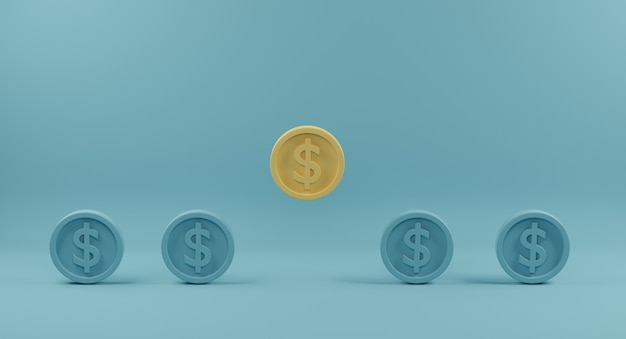 Yellow coin standing out from crowd of identical blue fellows on light blue background. 3d rendering.