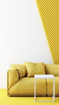 空の背景に黄色の椅子、ソファ、アームチェア。幾何学的な形に囲まれたミニマリズムのインスタレーションアートのコンセプト。 3dレンダリングは垂直フレームをモックアップします