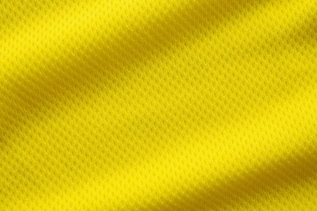 노란색 축구 저지 의류 패브릭 질감 스포츠 착용 배경, 클로즈업