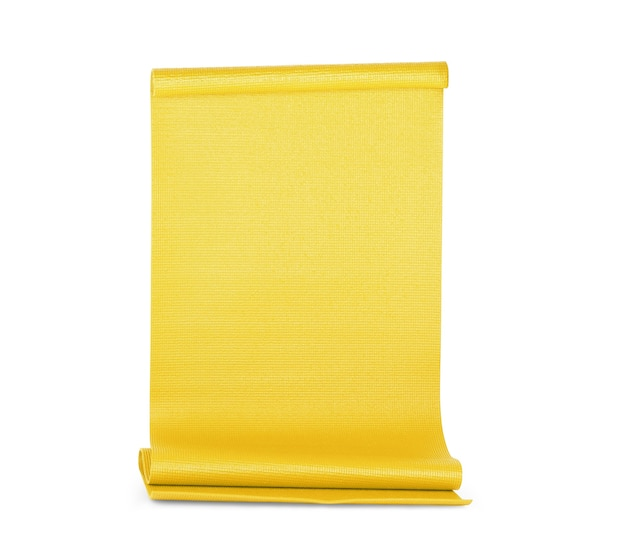 배경에 노란색 컬러 요가 매트
