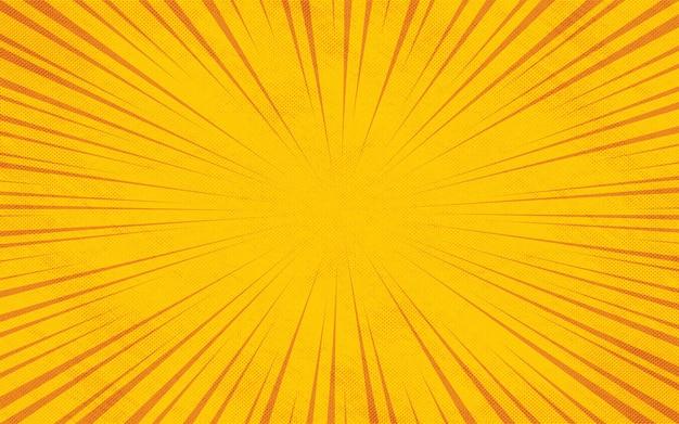노란색 만화 줌 광선 화려한 만화 배경