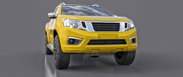 더블 캡이 있는 노란색 상업용 차량 배달 트럭. 로고와 라벨을 수용할 수 있는 깨끗한 빈 몸체로 휘장이 없는 기계. 3d 렌더링.