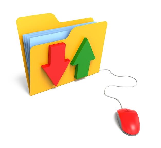 화살표와 컴퓨터 마우스가 있는 노란색 컴퓨터 폴더. 파일 전송 개념