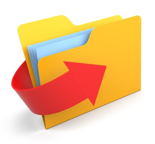 화살표와 함께 노란색 컴퓨터 폴더입니다. 파일 전송 개념