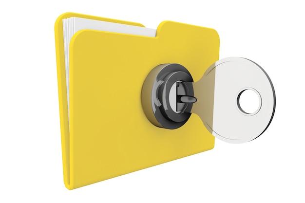 흰색 바탕에 키가 있는 노란색 컴퓨터 폴더