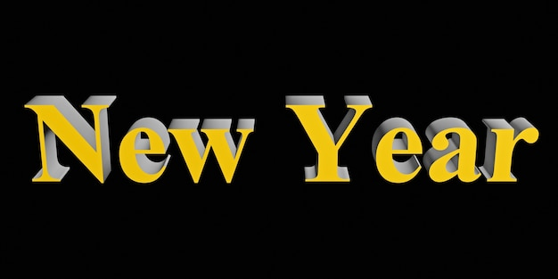 Yellow concept words new year isolated on black