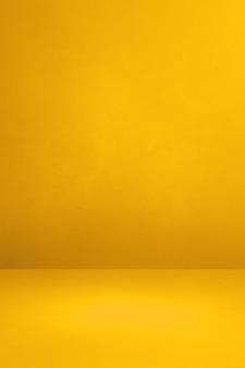 노란색 콘크리트 인테리어 배경입니다. 빈 템플릿 장면