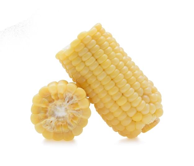 白で分離された黄色いトウモロコシ