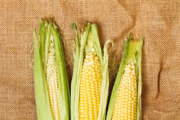黄麻布、上面図に緑の葉を持つ黄色のトウモロコシの穂軸