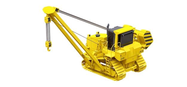 측면 붐이있는 노란색 크롤러 크레인. 3d 렌더링.
