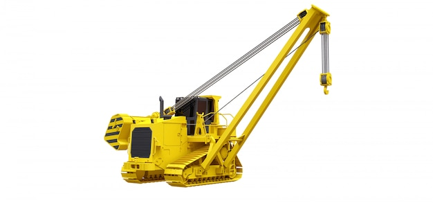 Yellow crawler crane with side boom