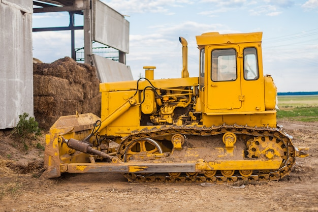 Yellow crawler tractor