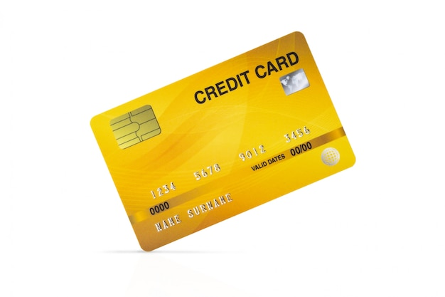 Yellow credit card isolated on white with clipping path