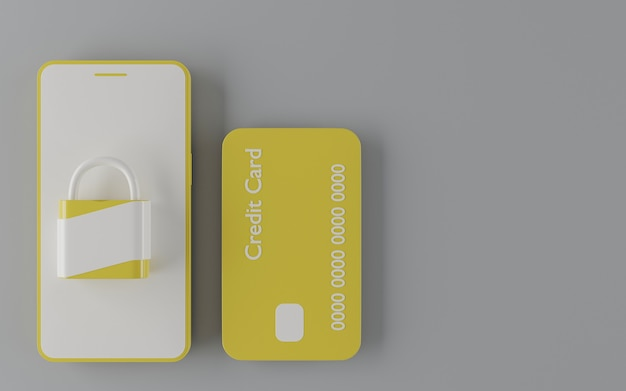 Yellow credit card with yellow and white mobile phone and padlock. 3d render