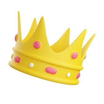 Yellow crown decorated with pink and white diamonds 3d render illustration. birthday party or winning congratulation concept. isolated image of royalty or leader insignia.