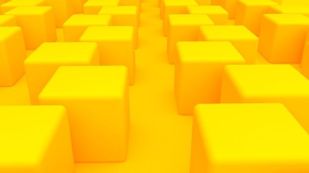 黄色の立方体の抽象的な背景