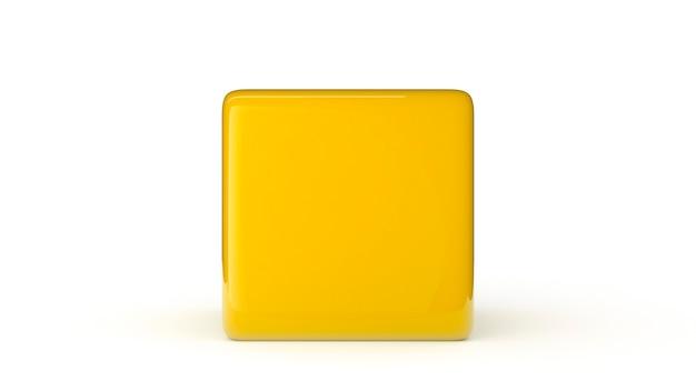 흰색 배경 3d 렌더링 그림에 고립 된 노란색 큐브