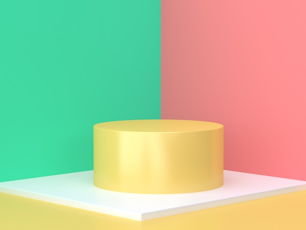 Yellow cylinder pink green wall abstract scene minimal 3d render