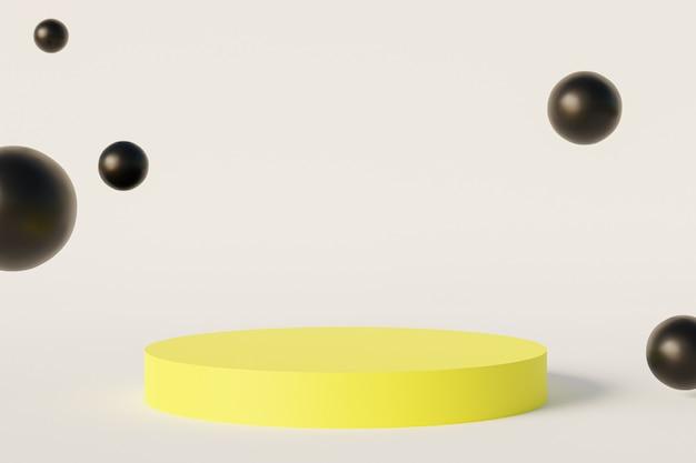 노란색 실린더 연단 또는 제품 또는 흰색 배경에 광고에 대 한 받침대, 최소한의 3d 그림 렌더링