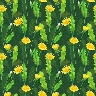 Желтые одуванчики и зеленые листья бесшовные модели на зеленом фоне. повторяющийся принт летних цветов. цветные карандаши полевые цветы орнамент.