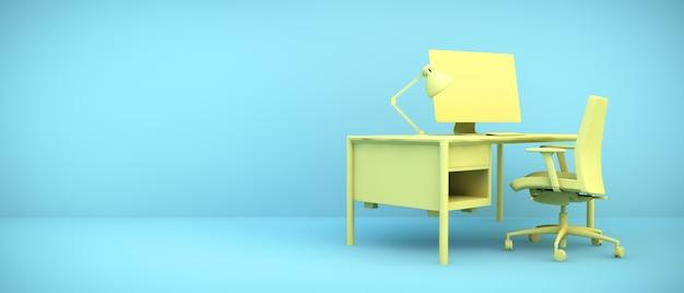 블루 룸, 3d 렌더링에 노란색 바탕 화면
