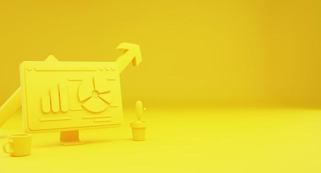 Концепция анализа данных технологии желтого рабочего стола. фон целевая главная страница. копировать пространство. 3d иллюстрации.