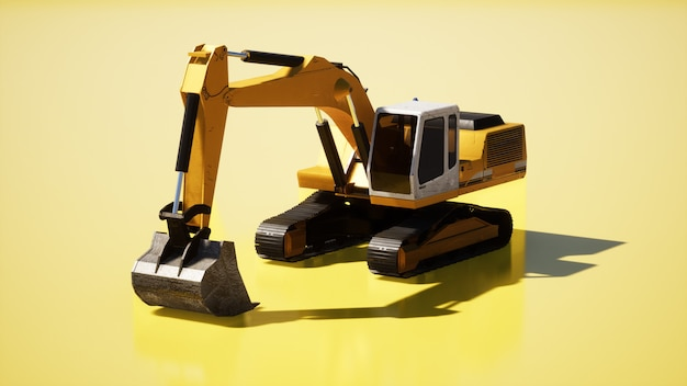 Yellow digger on yellow background