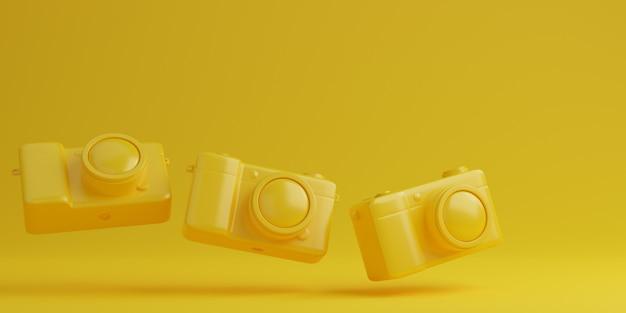 노란색 배경, 기술 개념에 노란색 디지털 카메라. 3d 렌더링