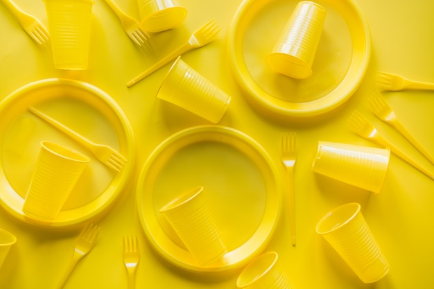 Yellow disposable picnic utensils