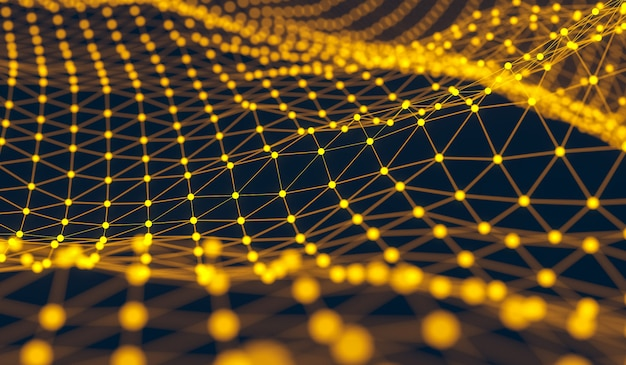 Yellow distributed connection atom with black background