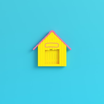Yellow doghouse on bright blue background