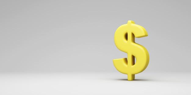 Желтый знак доллара на фоне серой студии