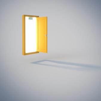 灰色の背景に書かれた出口と黄色のドア。 3dレンダリング