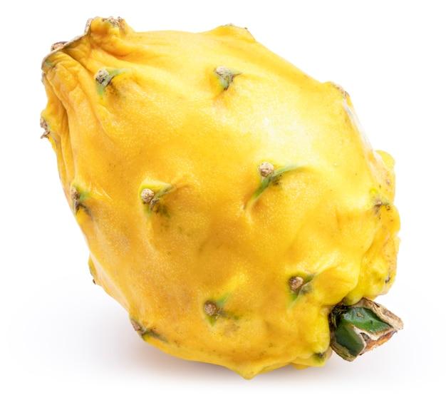白い表面に黄色のドラゴンフルーツ