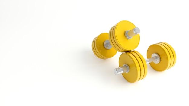 白い背景の上の黄色のダンベルのクローズアップ、3dイラスト